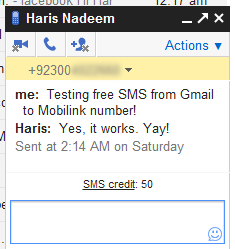 SMS in Gmail - Pakistan